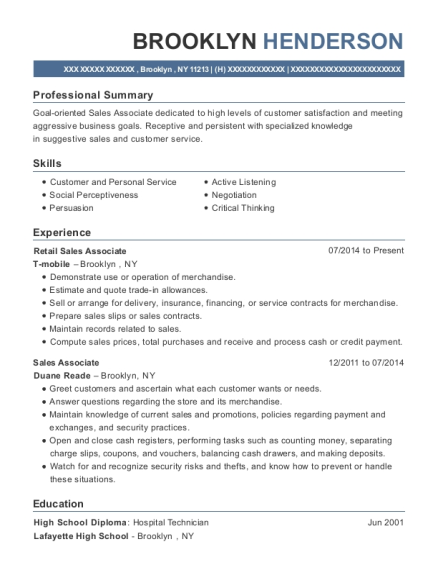 Retail Sales Associate resume sample New York