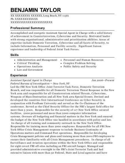 Assistant Special Agent in Charge resume sample New York