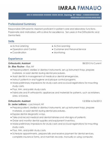 Best Orthodontic Assistant Resumes