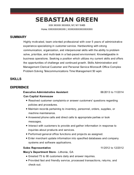 Executive Administrative Assistant resume example New York