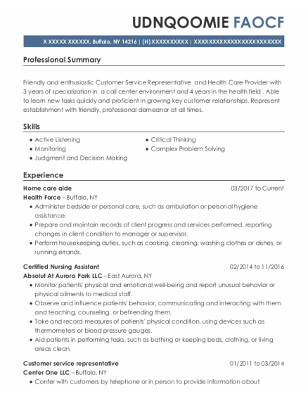 Home Care Aide resume format New York
