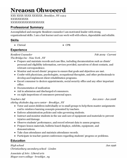 Resident Counselor resume template New York