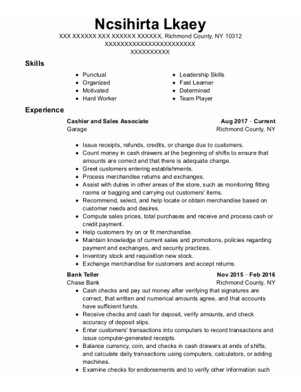 Cashier And Sales Associate resume format New York