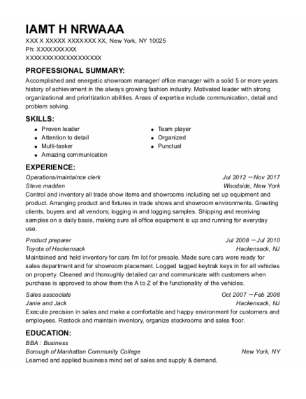 Operations resume template New York