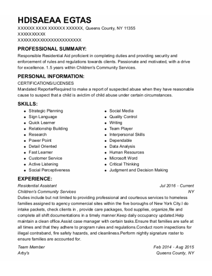 Residential Assistant resume example New York