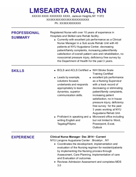 Clinical Nurse Manager resume format New York