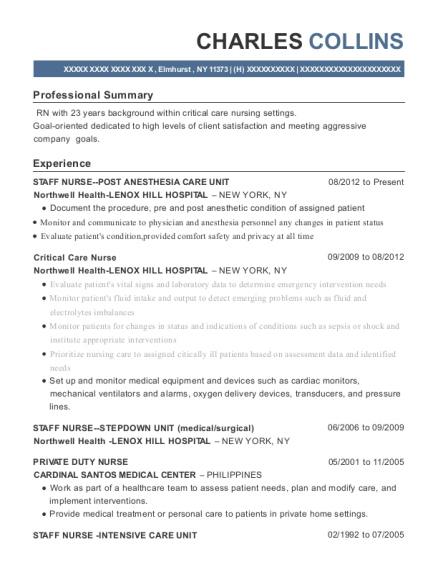 STAFF NURSE POST ANESTHESIA CARE UNIT resume sample New York