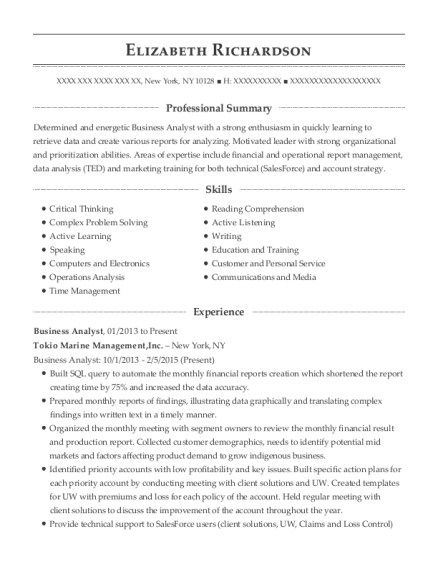 Business Analyst resume template New York