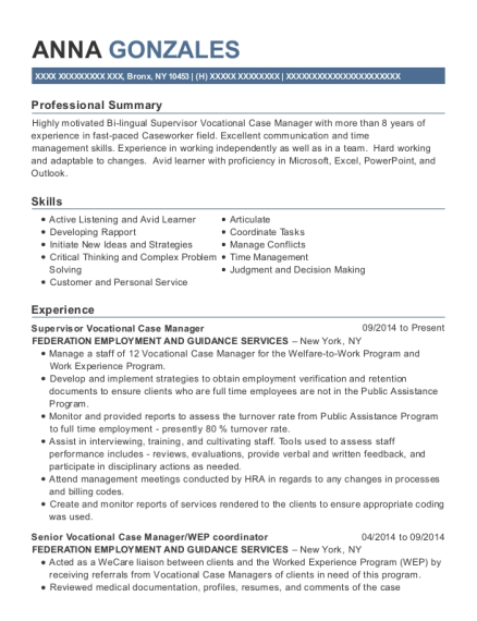 Supervisor Vocational Case Manager resume format New York