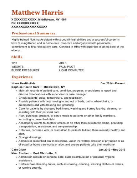 Home Health Aide resume example New York