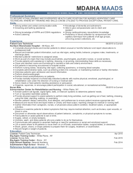 Patient Care Technician resume example New York