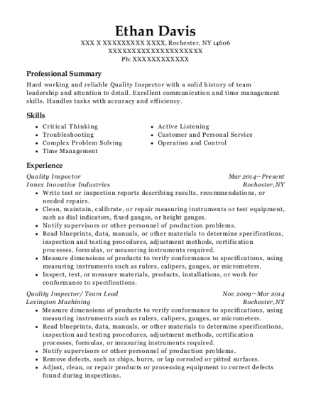 Quality Inspector resume example New York