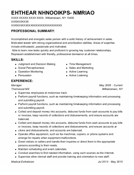 Manager resume format New York