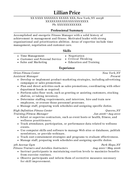 Assistant Manager resume format New York