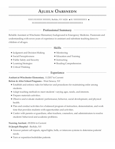 Nursing Assitant resume example New York