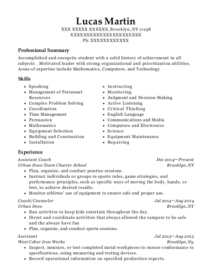 Assistant Coach resume template New York