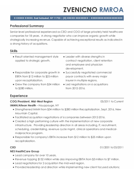Coo resume sample New York