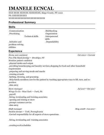 Home Care Assistant resume example New York