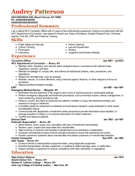Correction Officer resume example New York
