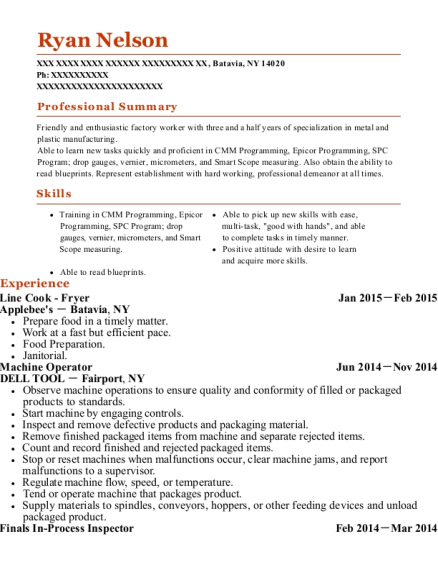 Line Cook Fryer resume format New York