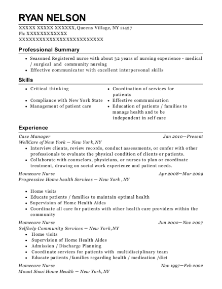Case Manager resume sample New York