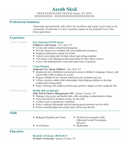 Peer Educator resume template New York