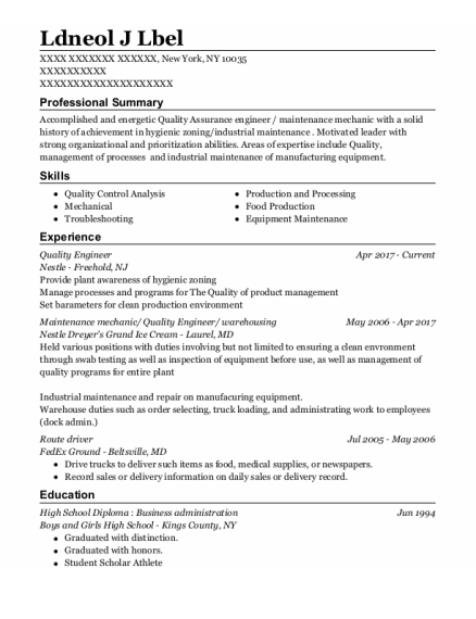 Quality Engineer resume template New York