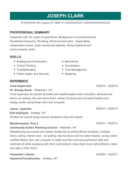 Crew Supervisor resume example New York