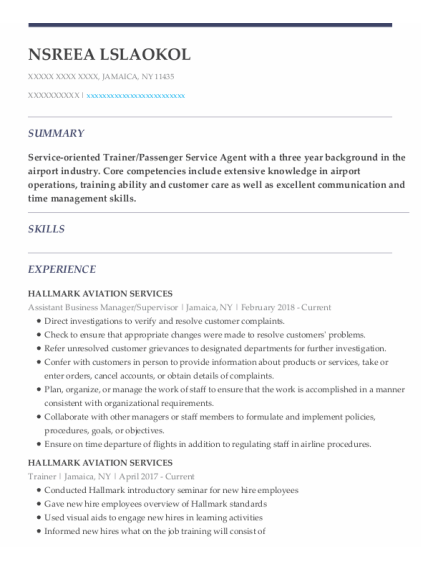 Assistant Business Manager resume template New York