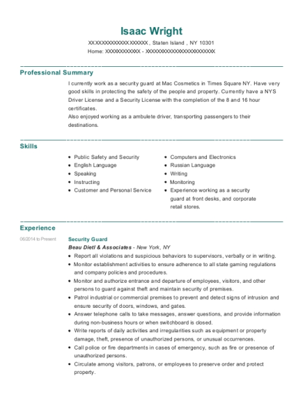 Security Guard resume template New York