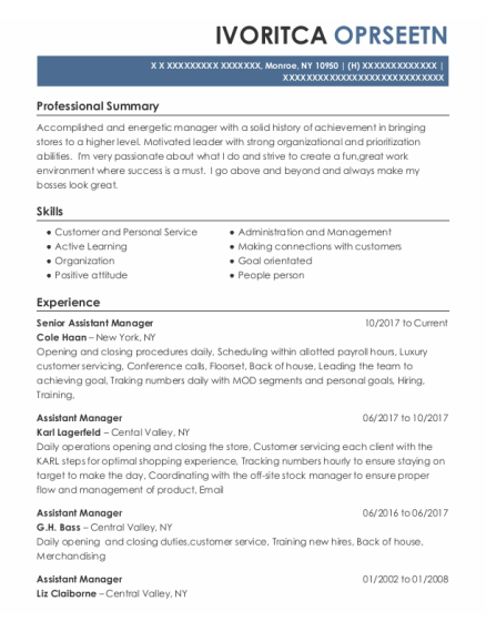Senior Assistant Manager resume template New York