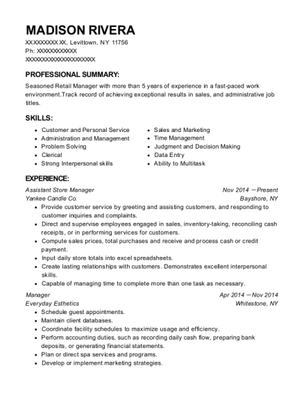 Assistant Store Manager resume example New York