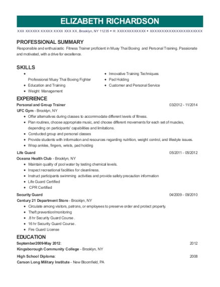 Personal and Group Trainer resume example New York
