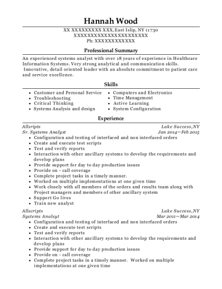 Sr Systems Analyst resume sample New York