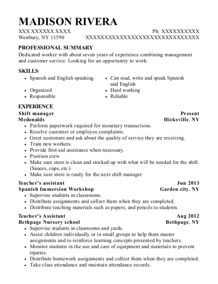 Shift Manager resume template New York