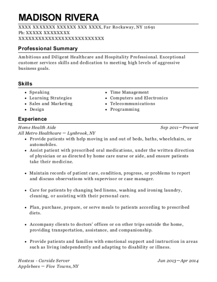 Home Health Aide resume format New York