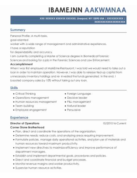 Director of Operations resume sample New York