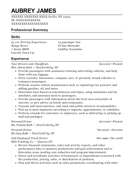Taxi Drivers and Chauffeurs resume template New York