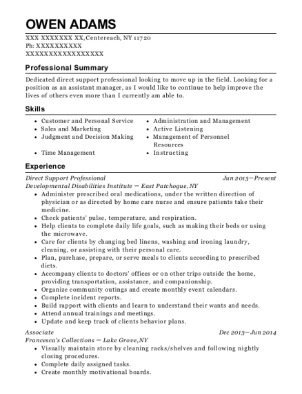 Direct Support Professional resume format New York