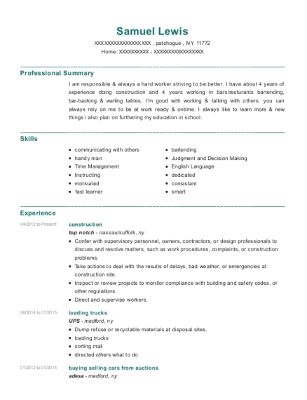 construction resume template New York