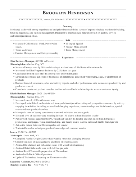 Dior Business Manager resume template New York