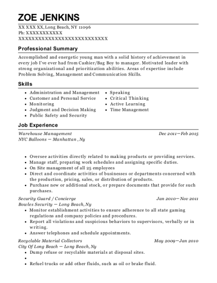 Warehouse Management resume template New York