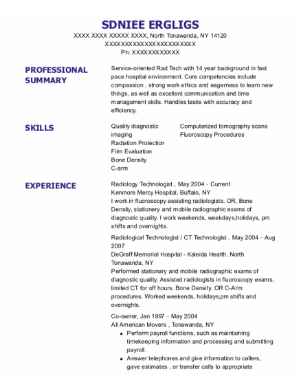 Ct Technologist resume format New York