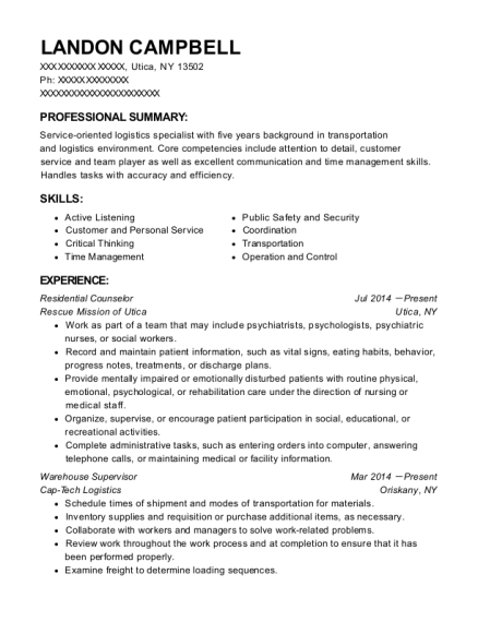 Residential Counselor resume example New York