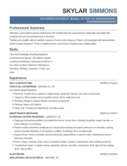 SELF CONTRACTING resume format New York