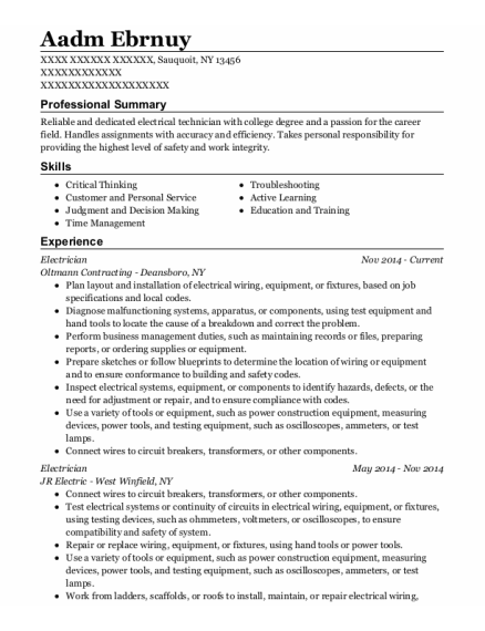 Electrician resume sample New York