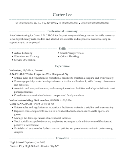 Volunteer resume format New York