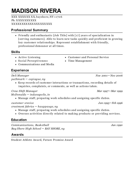 Deli Manager resume template New York
