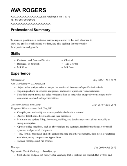 Telemarketer resume template New York