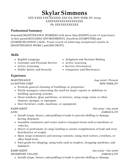 Maintenance resume format New York